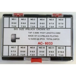 Set krunica crnih za veće satove 24 komada