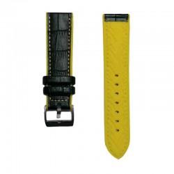 Kožni kaiš Diloy DIL420.1.10.22 (Crni sa žutim štepom boja)
